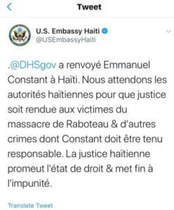 Déportation d'Emmanuel Toto Constant, les États-Unis se moquent-ils de la justice haïtienne ?