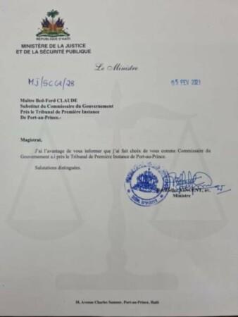 Me Bed-Ford Claude nommé commissaire du gouvernement a.i de Port-au-Prince