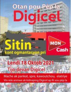 Digicel : augmentation des frais du service MonCash, un sit-in est prévu devant la compagnie à Turgeau